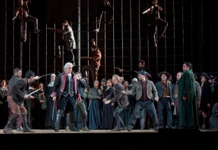 "A scene from Verdi's ""Il Trovatore"" with Dmitri Hvorostovsky as Count di Luna. Photo: Ken Howard/Metropolitan Opera Taken during the final dress rehearsal on Febraury 13, 2009 at the Metropolitan Opera in New York City."
