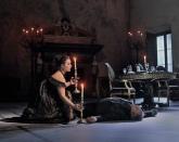 TOS17_1142a - Sonya Yoncheva as Tosca and Željko Lučić as Scarpia in an Act II rehearsal for David McVicar's new production of Tosca. Photo Ken HowardMetropolitan Opera,