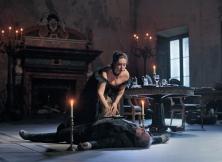 TOS17_1148a - Sonya Yoncheva as Tosca and Željko Lučić as Scarpia in an Act II rehearsal for David McVicar's new production of Tosca. Photo Ken HowardMetropolitan Opera,