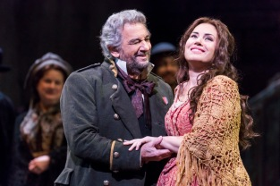 Met Opera's production of Juisa Miller with Betrand de Billy conducting, Sonya Yoncheva as Luisa, Piotr Beczala as Rodolfo and Plácido Domingo as Miller, 3/26/18. Photo by Chris Lee