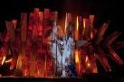 "The Act 3 finale of Wagner's ""Die Walküre"" with Wotan and the sleeping Brünnhilde. Photo: Ken Howard/Metropolitan Opera Taken at the rehearsal on April 14, 2011 at the Metropolitan Opera in New York City."